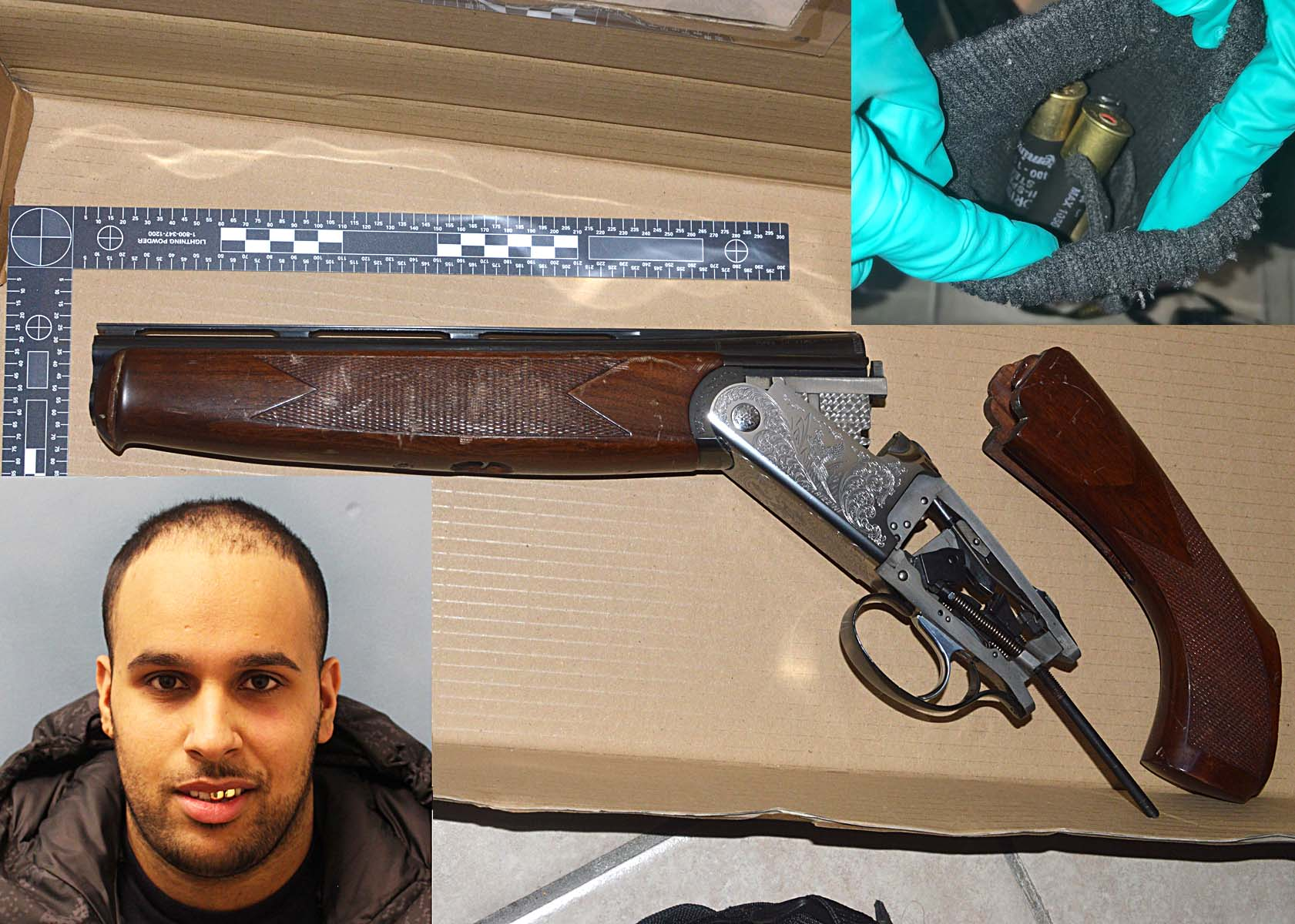 Mohamed Hamza Riaz, 21, of Tadworth Road, NW2 has been jailed for five years after police found a shotgun and live ammunition at a residential address in Brent.