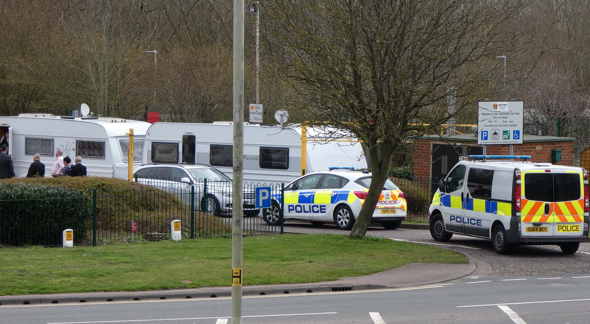 Police called to Travellers filling Timberlake car park with Caravans on Radlett Road,  North Watford